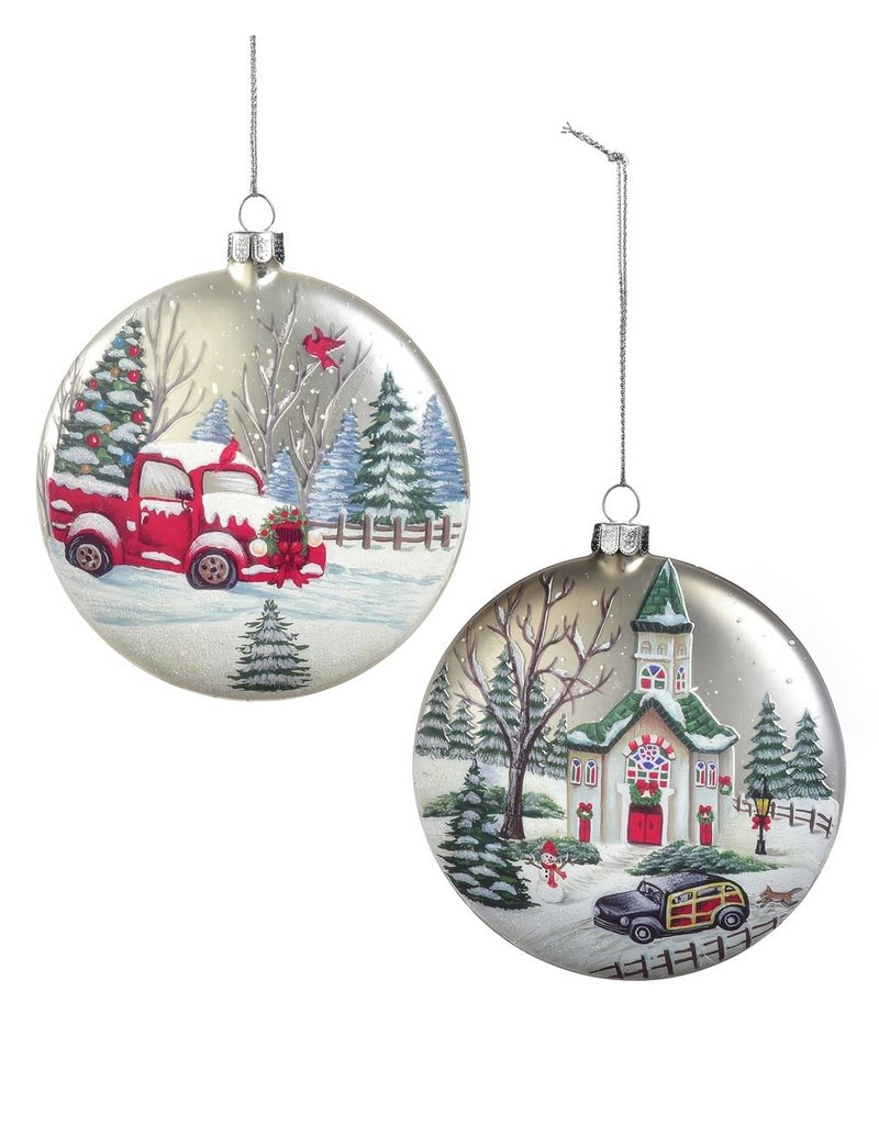 Giftcraft Church Scene Disc Ornament