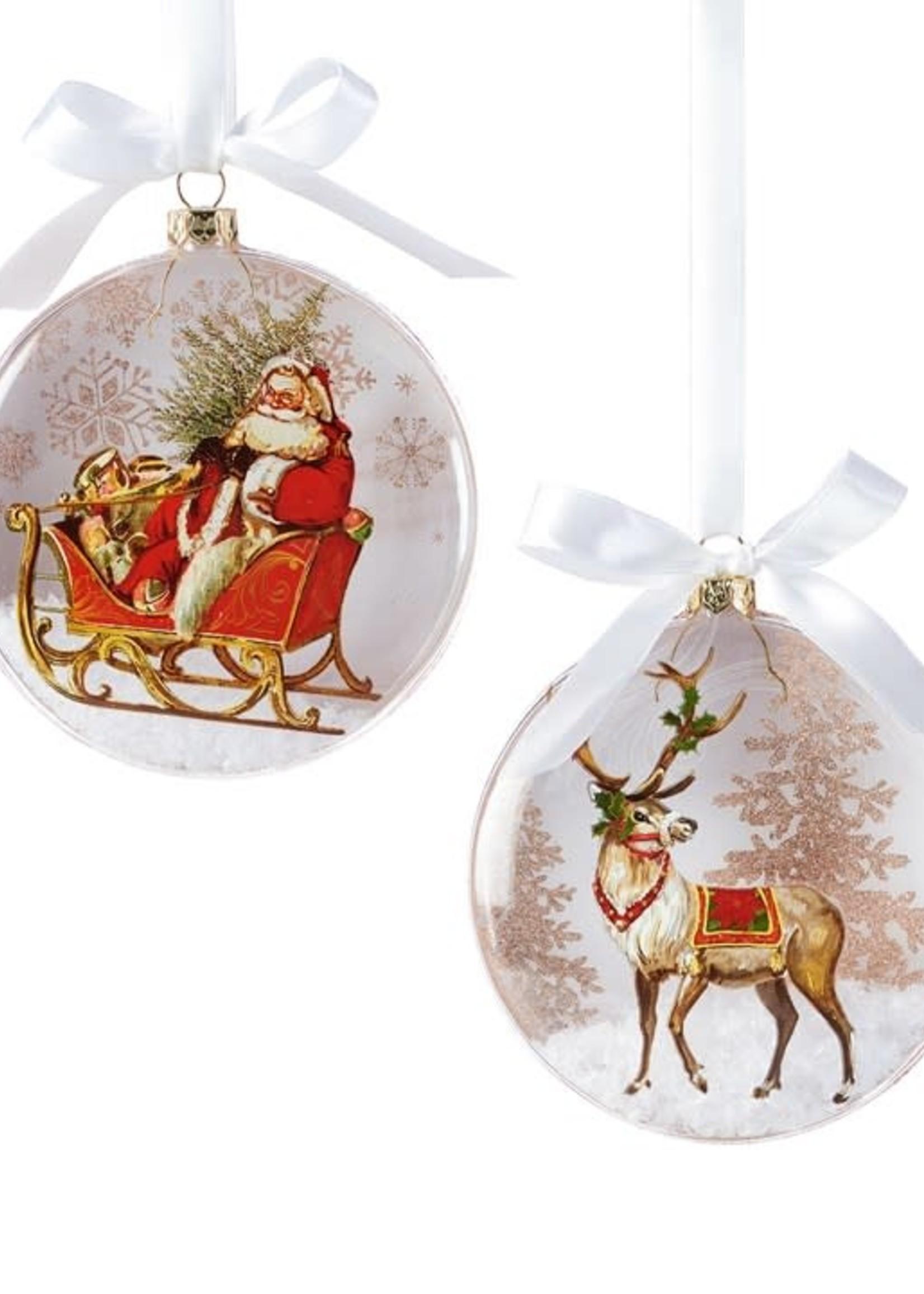 Giftcraft Santa Glass Disc Ornament
