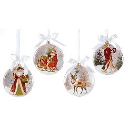 Giftcraft Santa Glass Disc Ornament
