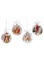 Giftcraft Santa in Sleigh Glass Disc Ornament