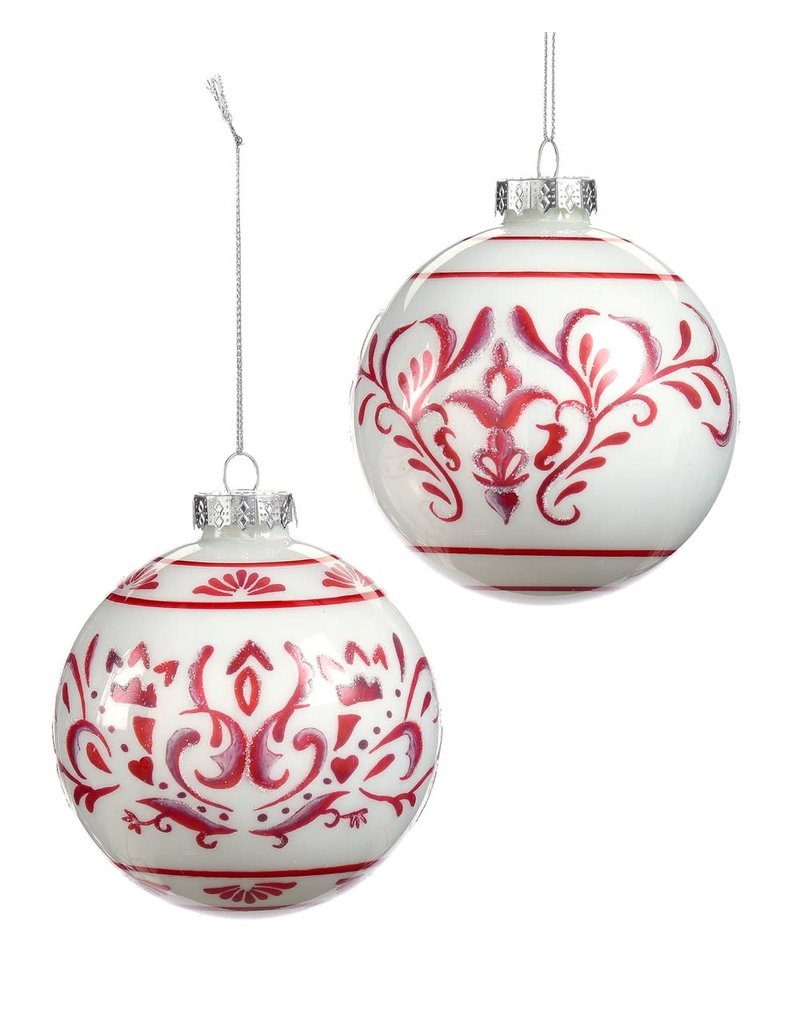 Giftcraft Orb Ornament w Red Pattern Asst.