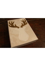 Kris Marks 5x7 White Deer with Gold Antlers
