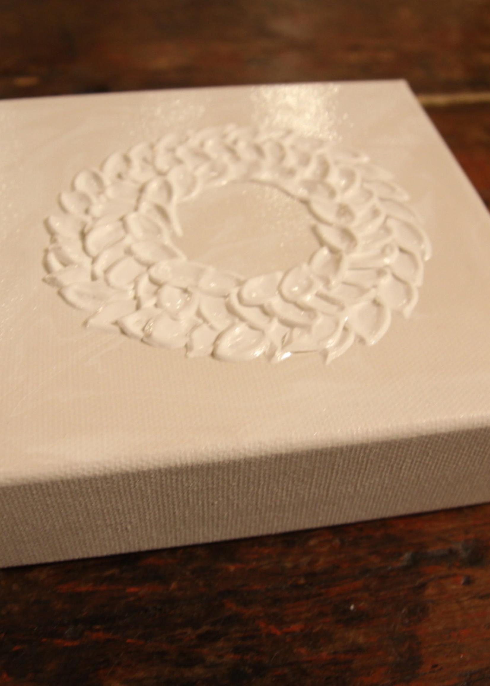 Kris Marks 6x6 White Wreath on White