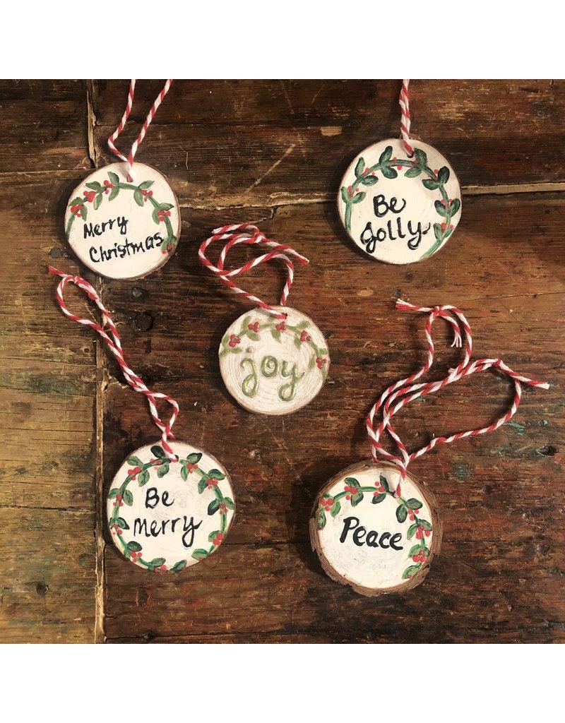 Kris Marks Wood Slice Ornament - White & Green