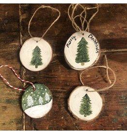 Kris Marks Wood Slice Ornament - Tree