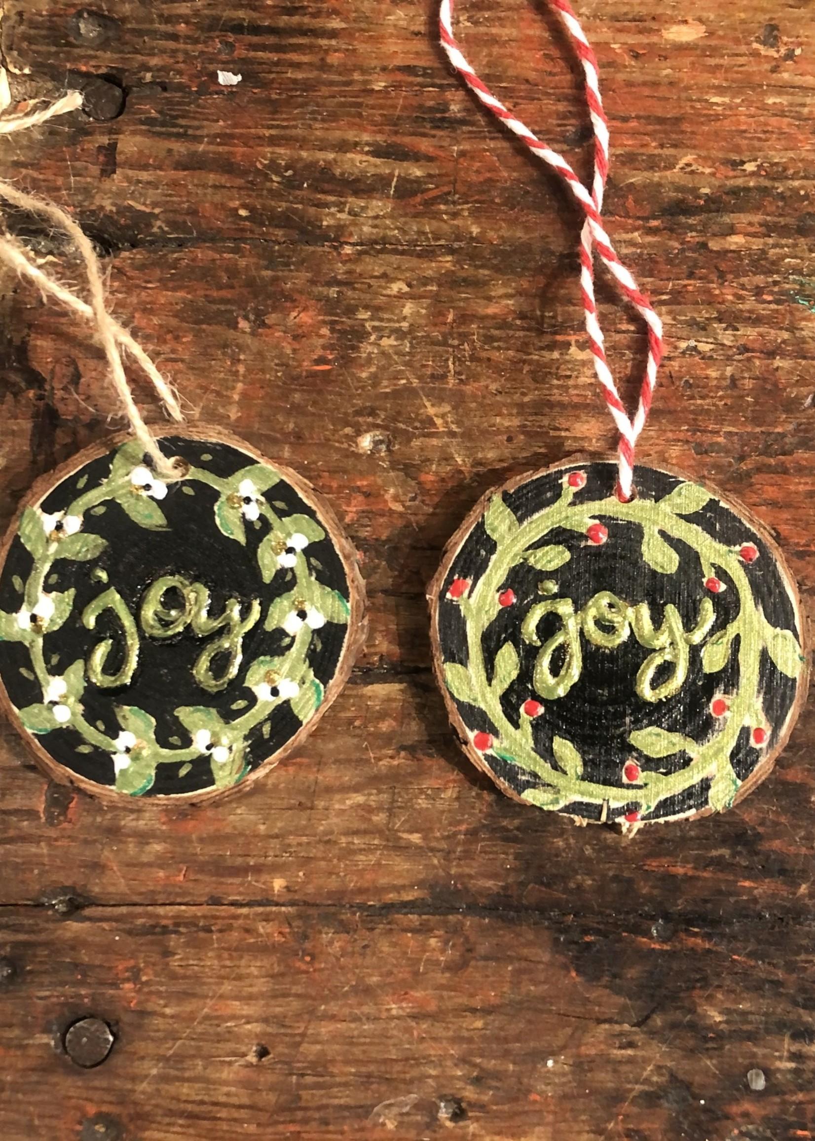 Kris Marks Wood Slice Ornament - Joy Wreath White Berries