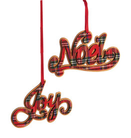 Giftcraft Plaid Sentiment Ornament Asst.