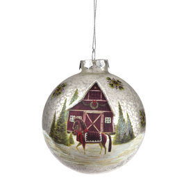 Giftcraft Barn Scene Glass Ball Hanging Ornament