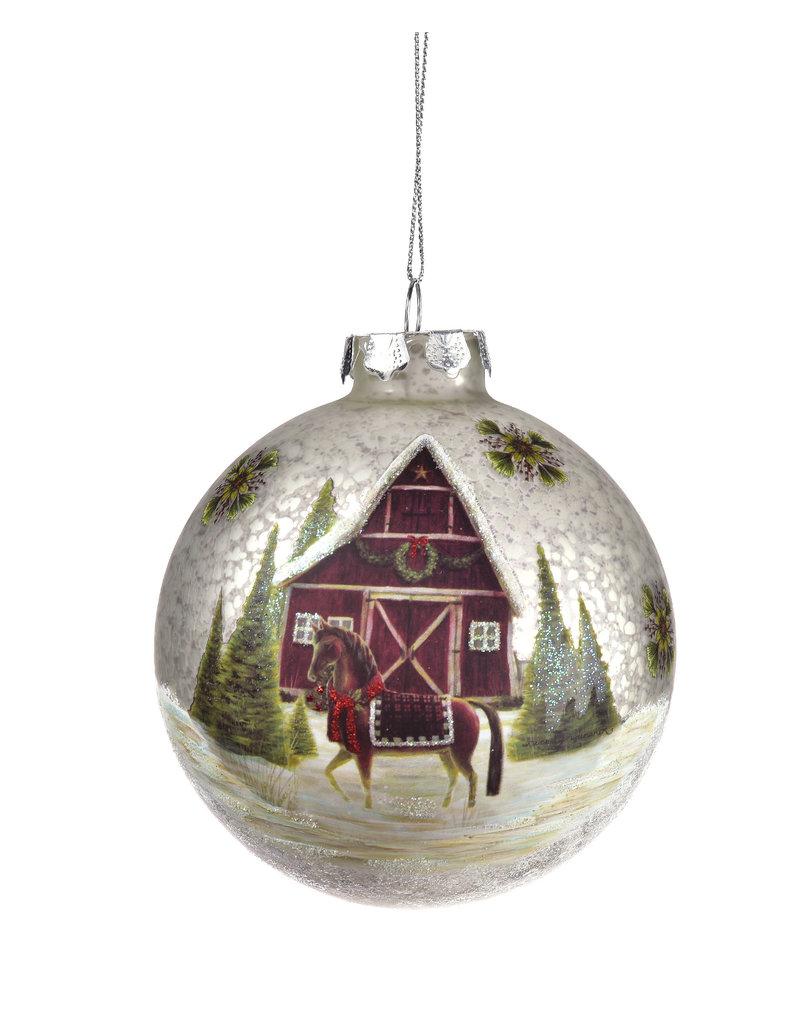 Giftcraft Barn Scene Glass Ball Hanging Ornament