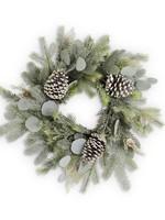 K&K Frosted Fir Pine Wreath  w/ Eucalyptus