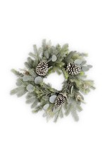 K&K Frosted Fir Pine Wreath  w/ Eucalyptus