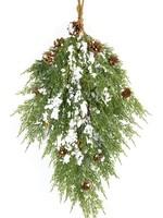 "Melrose Cedar Wall Swag w Snow and Cones 28"""