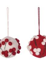 Creative Co-Op Wool Felt Ball Ornament Asst.