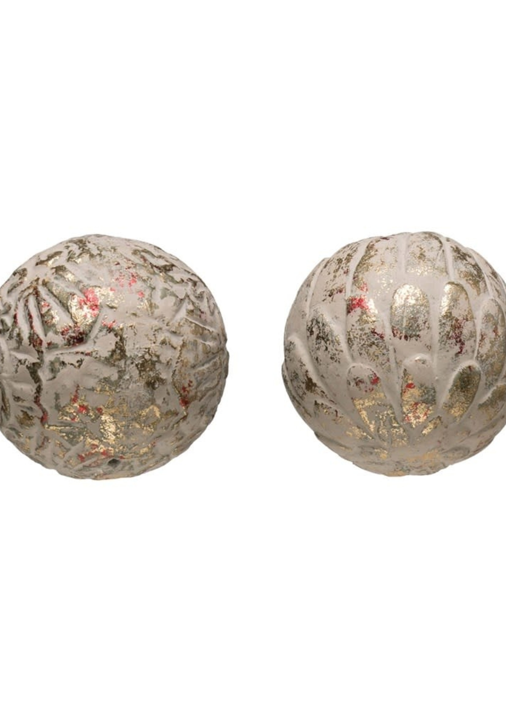 """Creative Co-Op 4"""" Round Red & Gold Orb"""