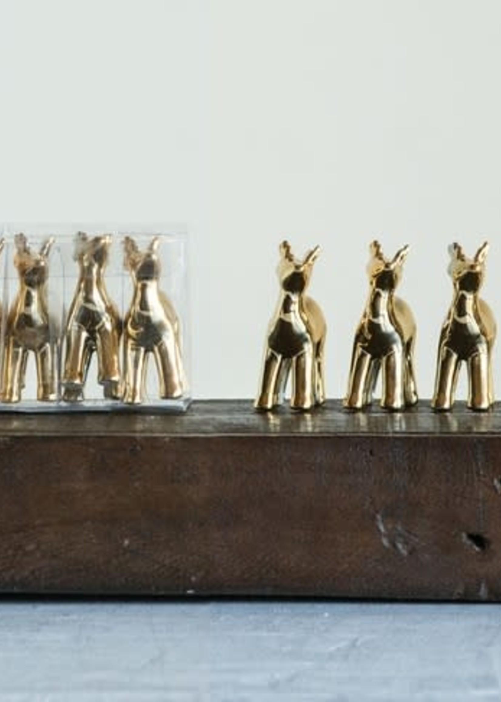 """Creative Co-Op Set /4  2.5"""" Gold Deer"""