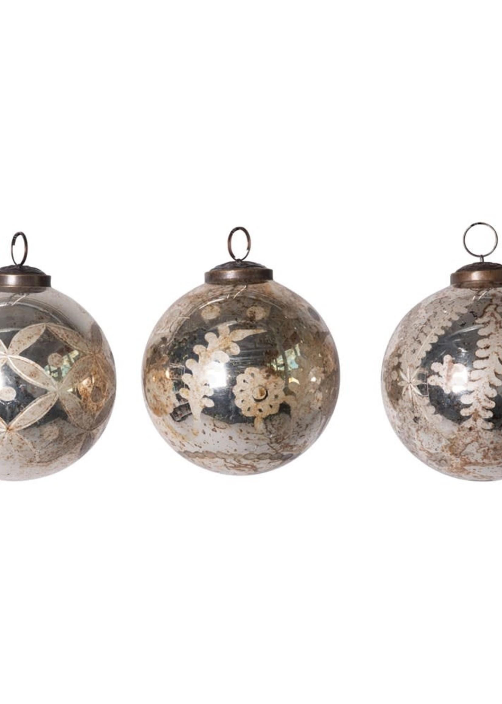 "Creative Co-Op 4"" Round Etched Mercury Glass Ball Asst."