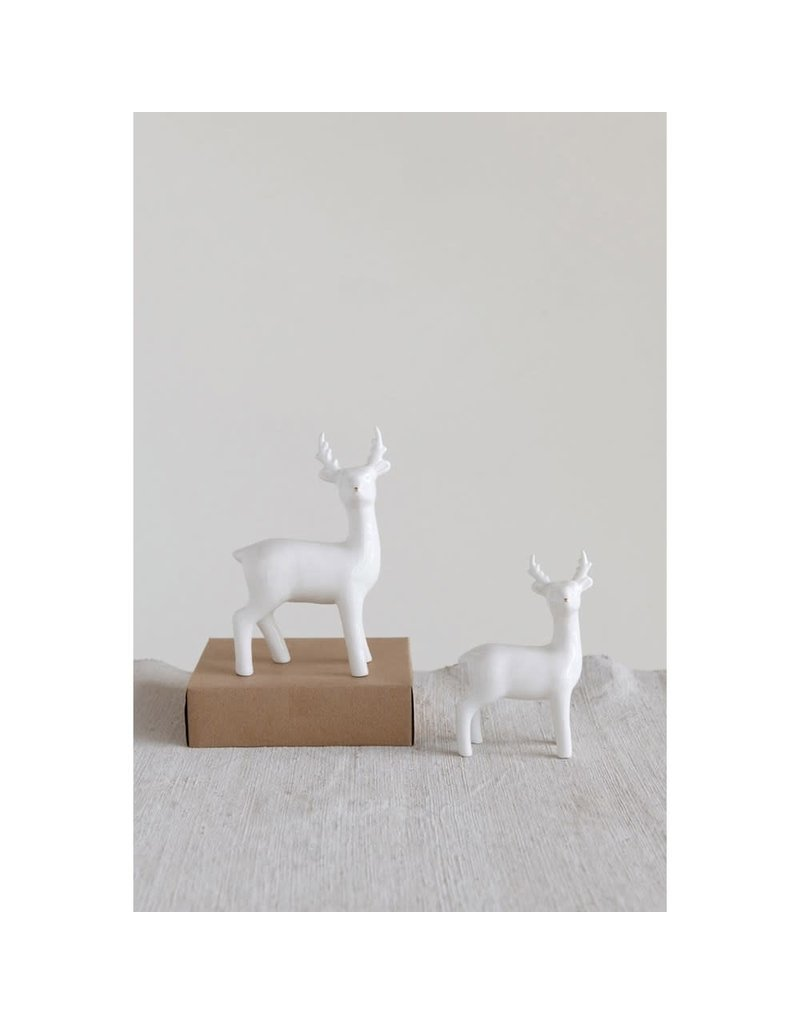 Creative Co-Op 4' Ceramic White Deer with Gold Nose