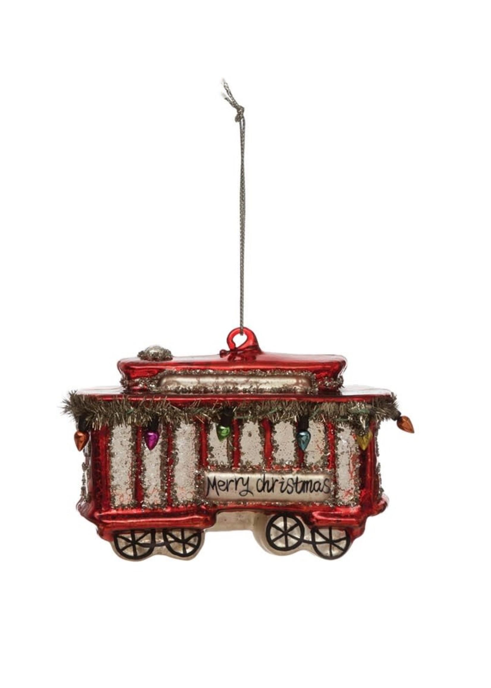Creative Co-Op Glass Trolley Ornament