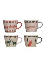 Creative Co-Op Stoneware Mug with Animals - Assorted