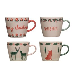 Creative Co-Op Stoneware Mug with Animals - Assorted