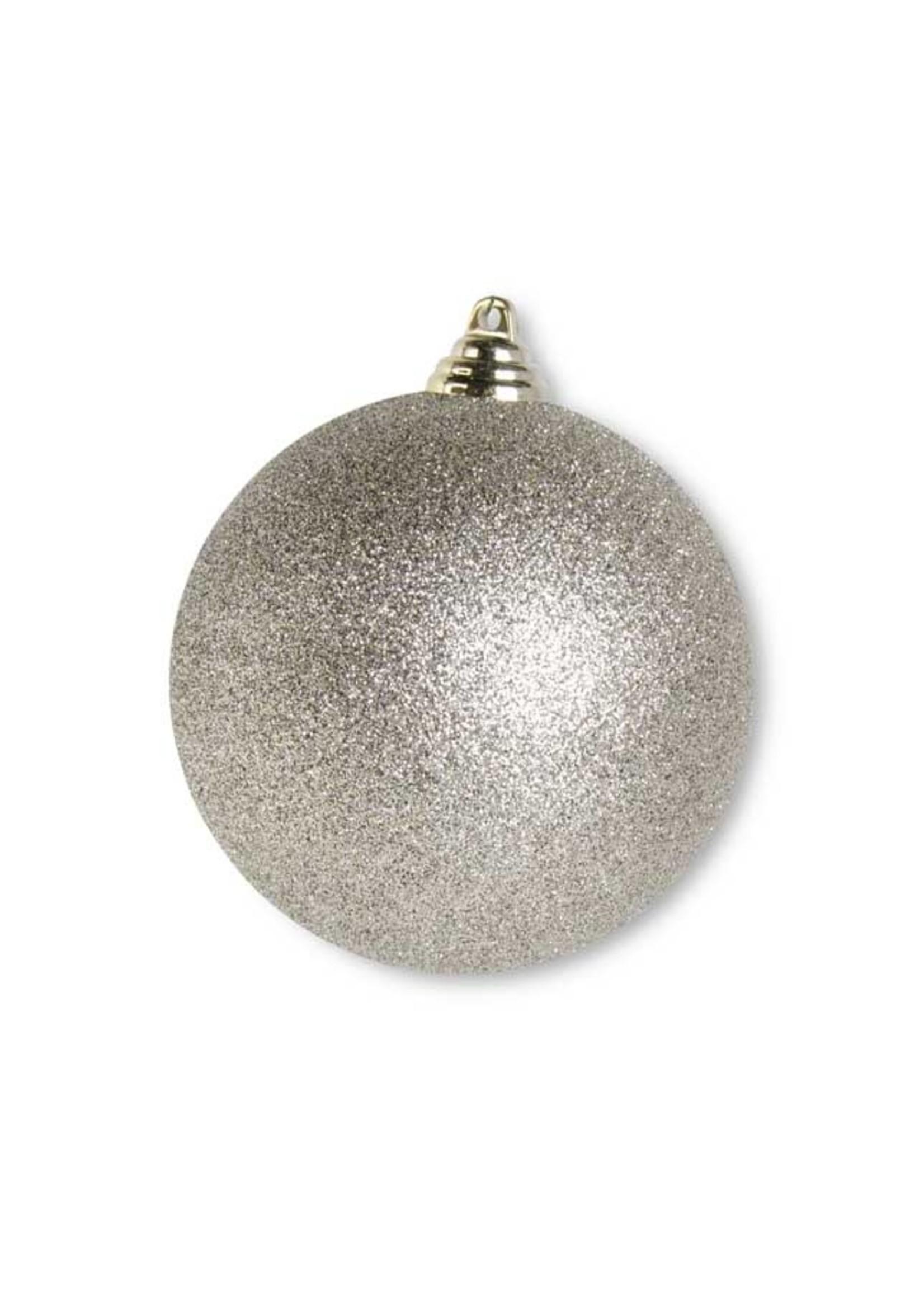 "K & K Interiors 4.5"" Champagne Glittered Shatterproof Round Ornament"
