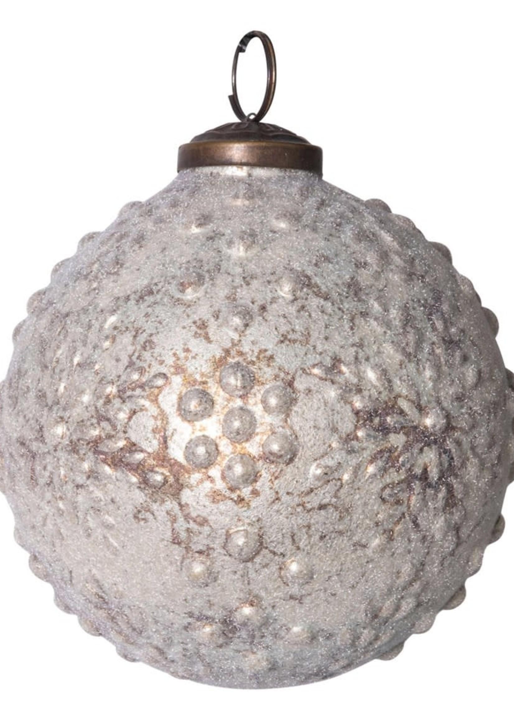 "Creative Co-Op Embossed Mercury Glass Ornament 4"""