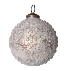 Creative Co-Op Embossed Mercury Glass Ornament 4""