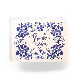 Antiquaria Blue Wildflower Thank You Greeting Card