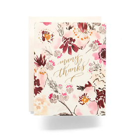 Antiquaria Floral Many Thanks Greeting Card