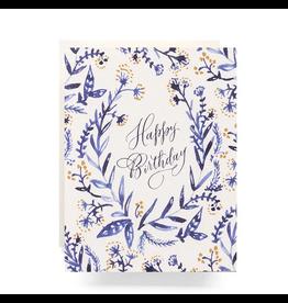 Antiquaria Cobalt & Canary Birthday Greeting Card