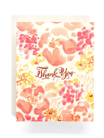 Antiquaria Coral Poppies Thank You Greeting Card