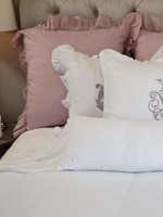 Crown Linen Designs Lumbar Pillow, Scarf Ruffle - White 14 x 36