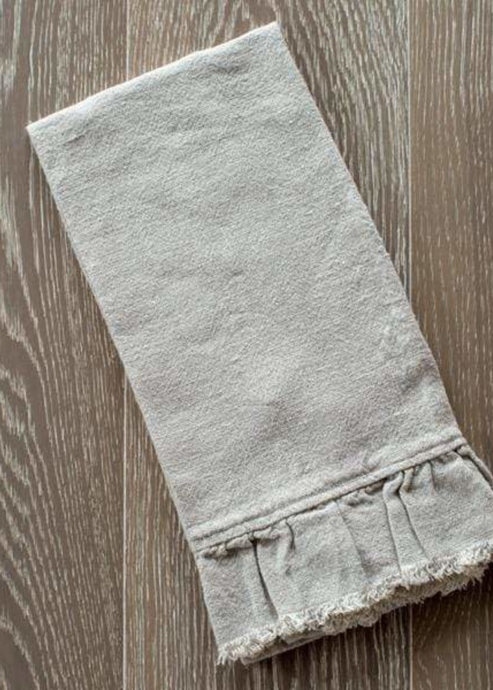 Crown Linen Designs Provence Ruffle and Fringe Towel - Natural