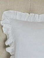 Crown Linen Designs Throw Pillow: Plain Washed Linen White Ruffle 20x20