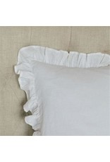 Crown Linen Designs Throw Pillow: Plain Washed Linen White Ruffle 20x20