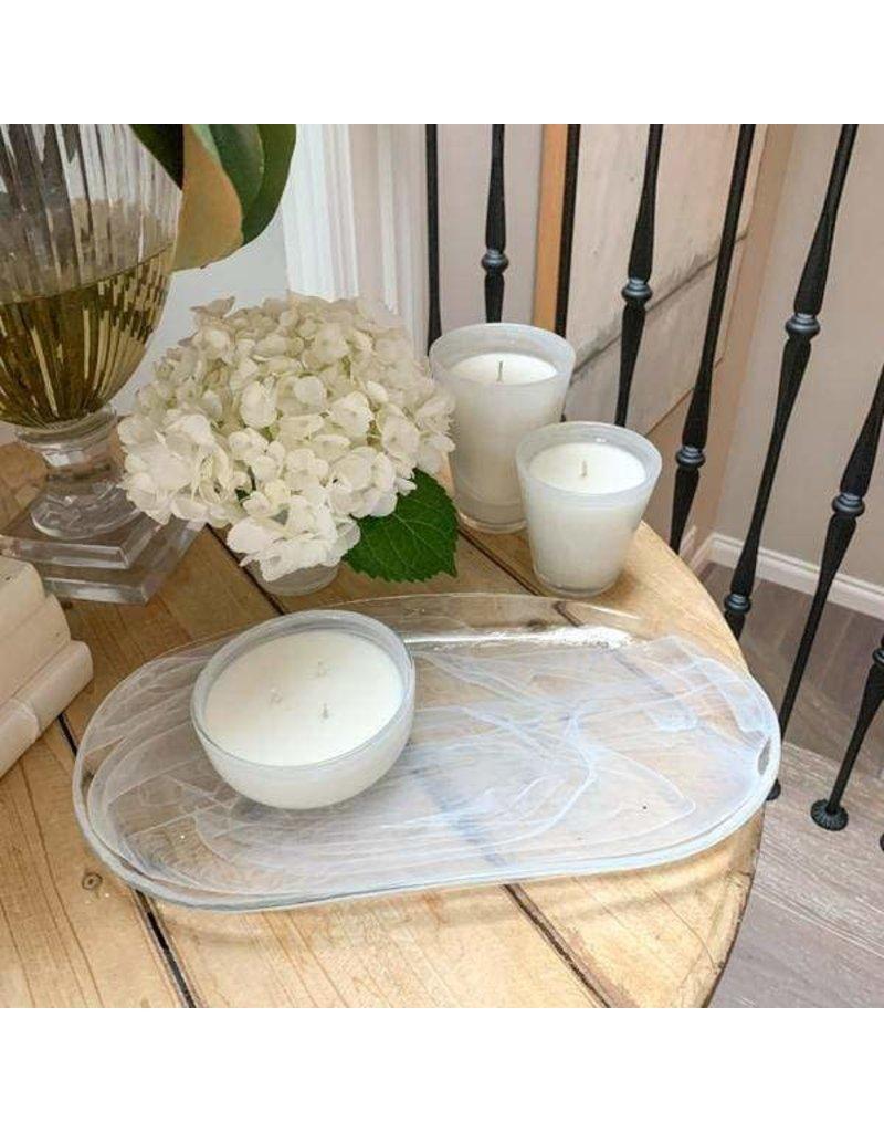 Crown Linen Designs Blown Glass Tray, White