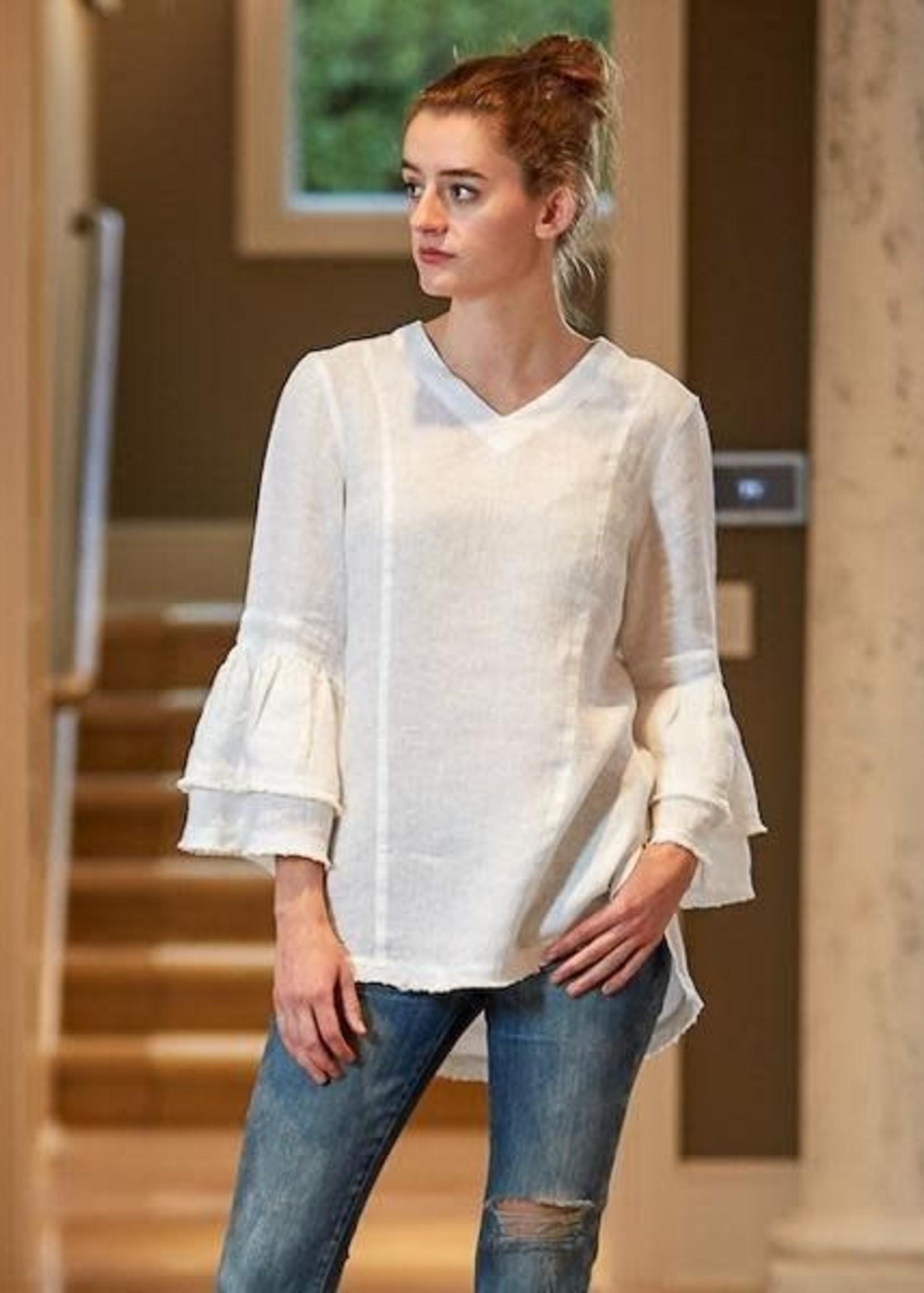 Crown Linen Designs Salma Top, White XS