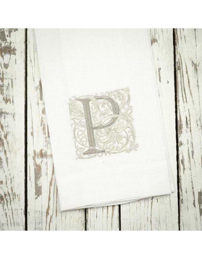 Crown Linen Designs Monogram Linen White Taupe Towel