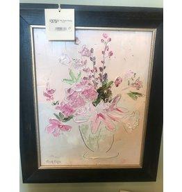 "Scott Ellis 11""x14"" Pink Flowers Painting"