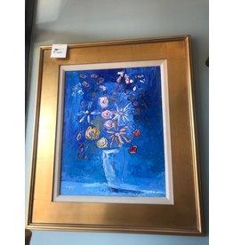 "Scott Ellis 16""x20"" Deep Blue Floral"