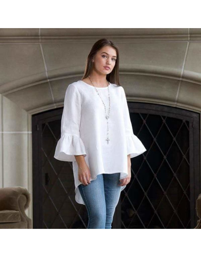 Crown Linen Designs Bella Linen Top White - Medium