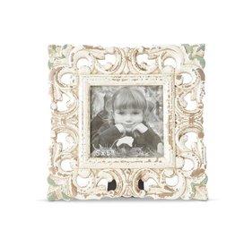 "K&K 9.5"" Square Whitewashed Carved Photo Frame"