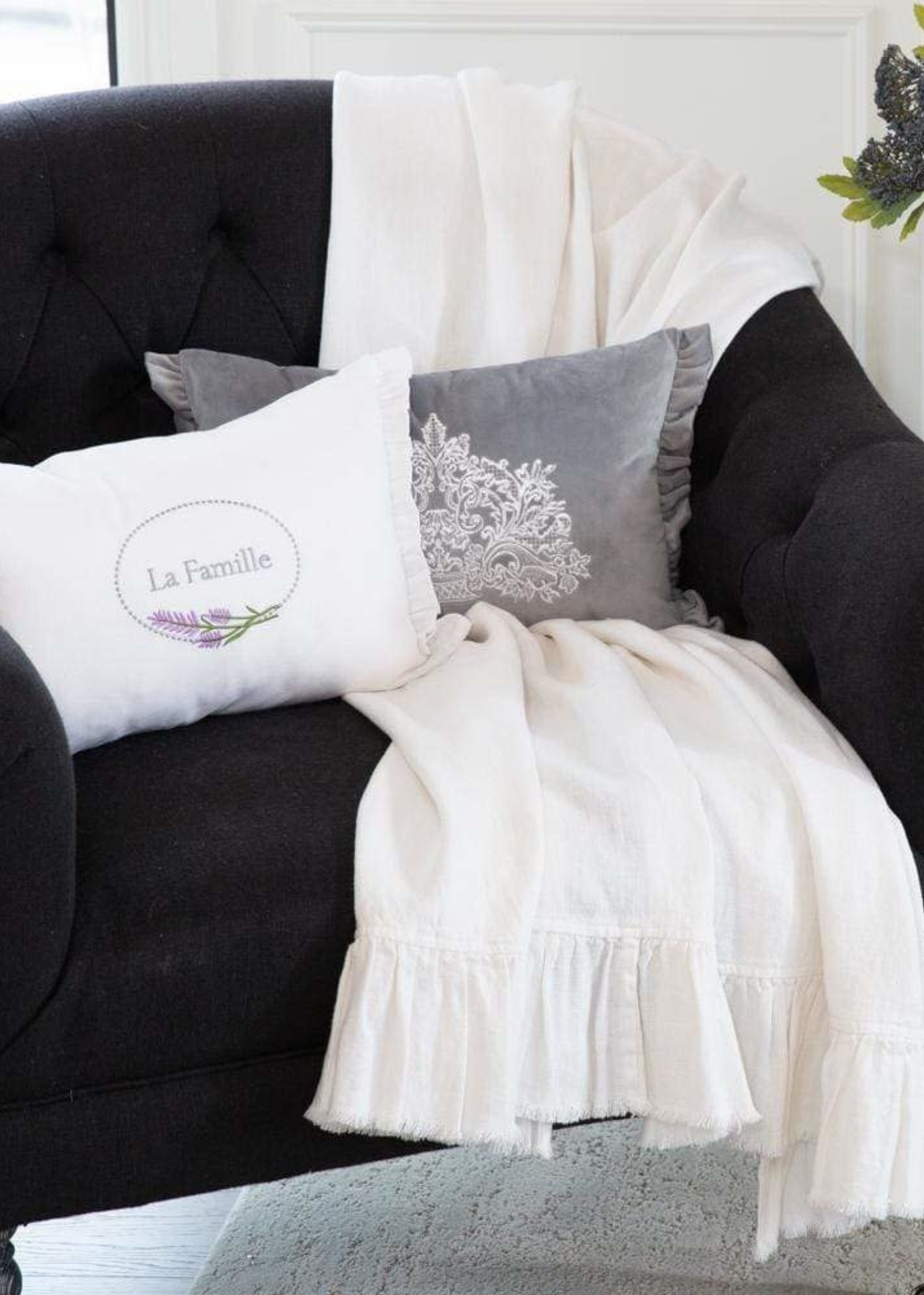 Crown Linen Designs Off White Ruffle and Fringe Throw