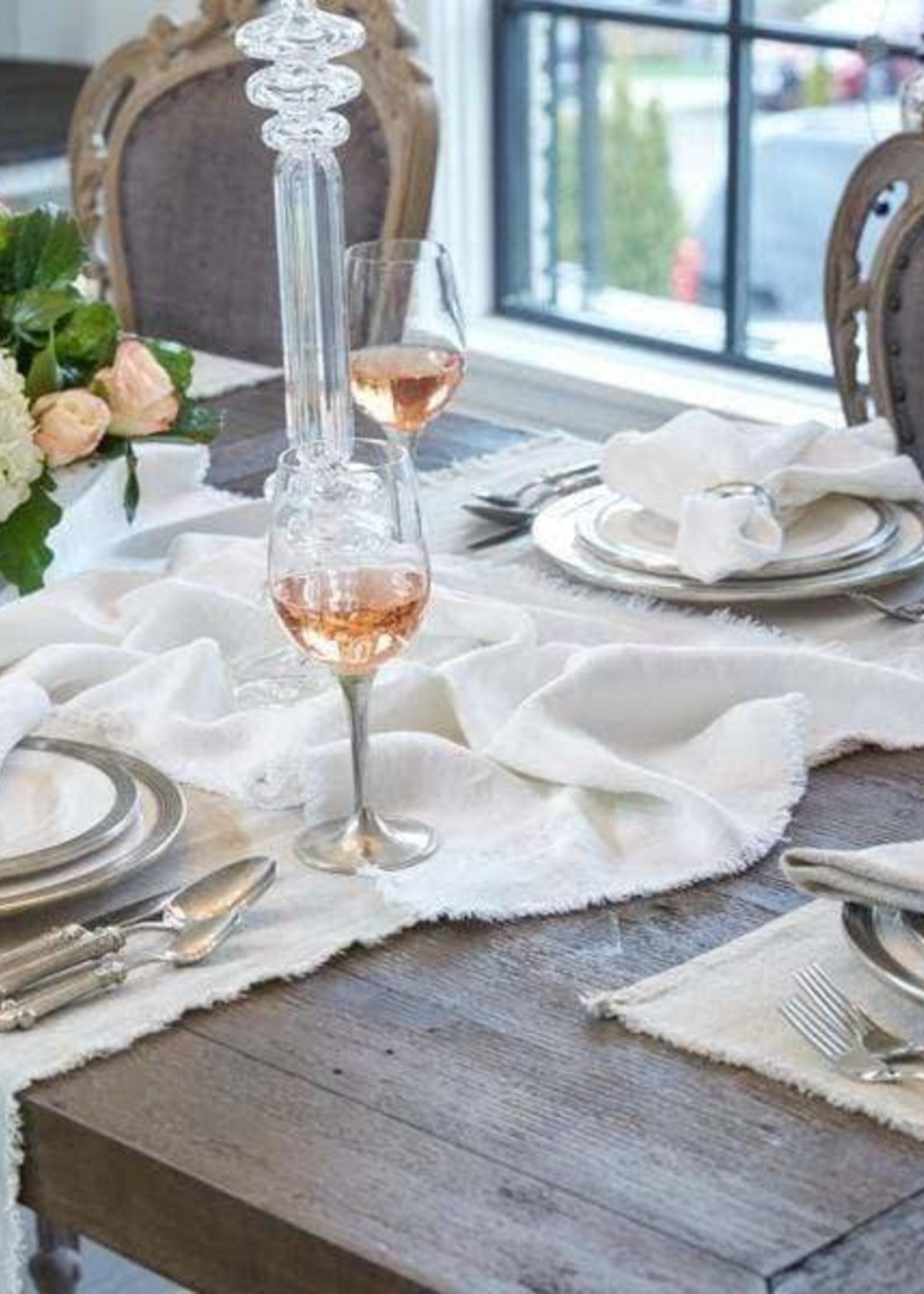 "Crown Linen Designs Provence Line Table Runner 70"" Off White"