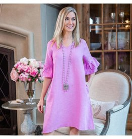 Crown Linen Designs Bethany Linen Dress Small/ Rose Pink