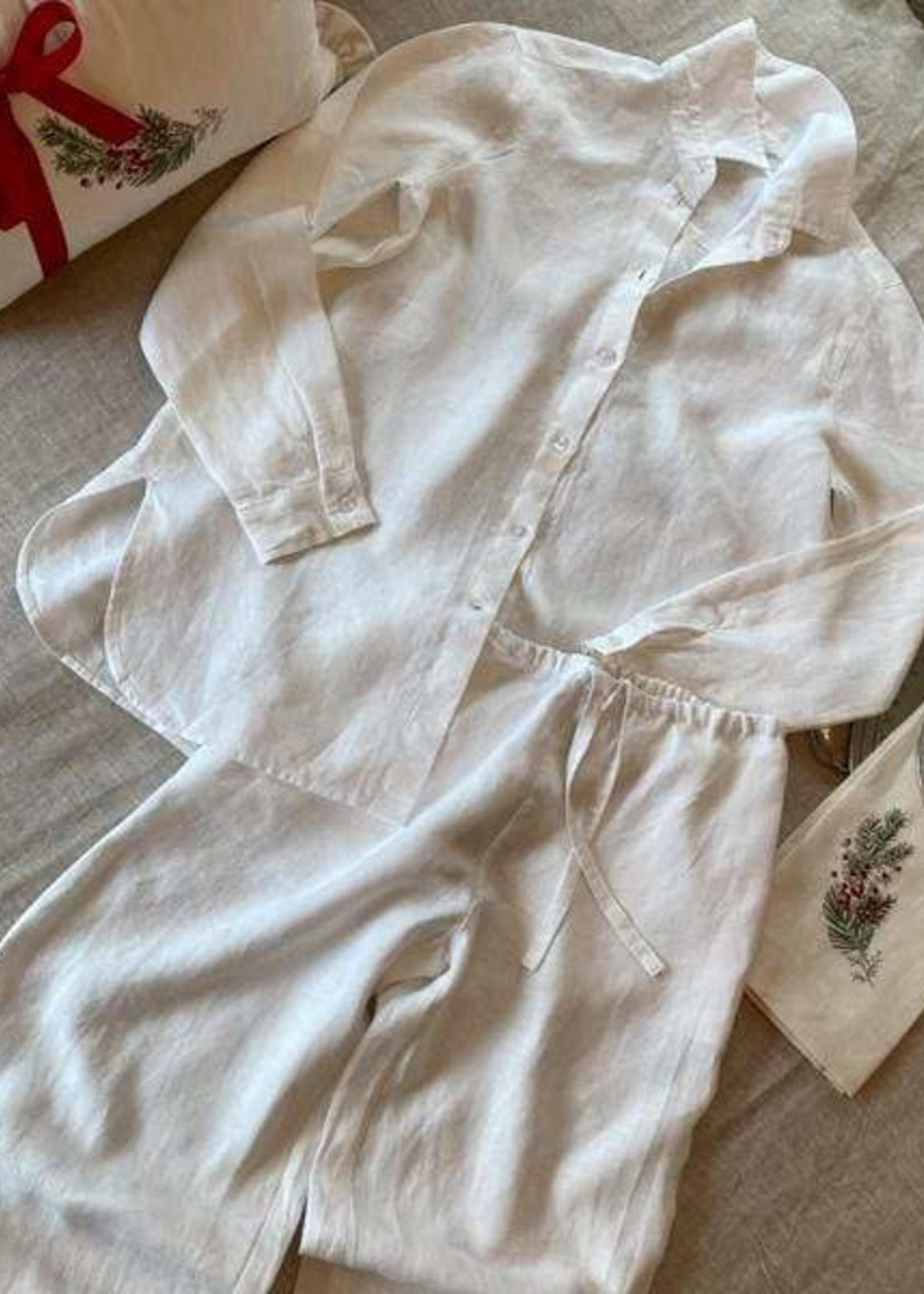 Crown Linen Designs Sammie Pajama Set White - Medium