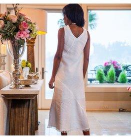 Crown Linen Designs Tawni Linen Dress White / M
