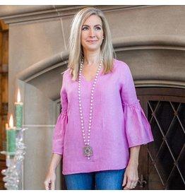 Crown Linen Designs Maya Top Rose Pink / L