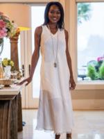 Crown Linen Designs Tawni Linen Dresws White / S