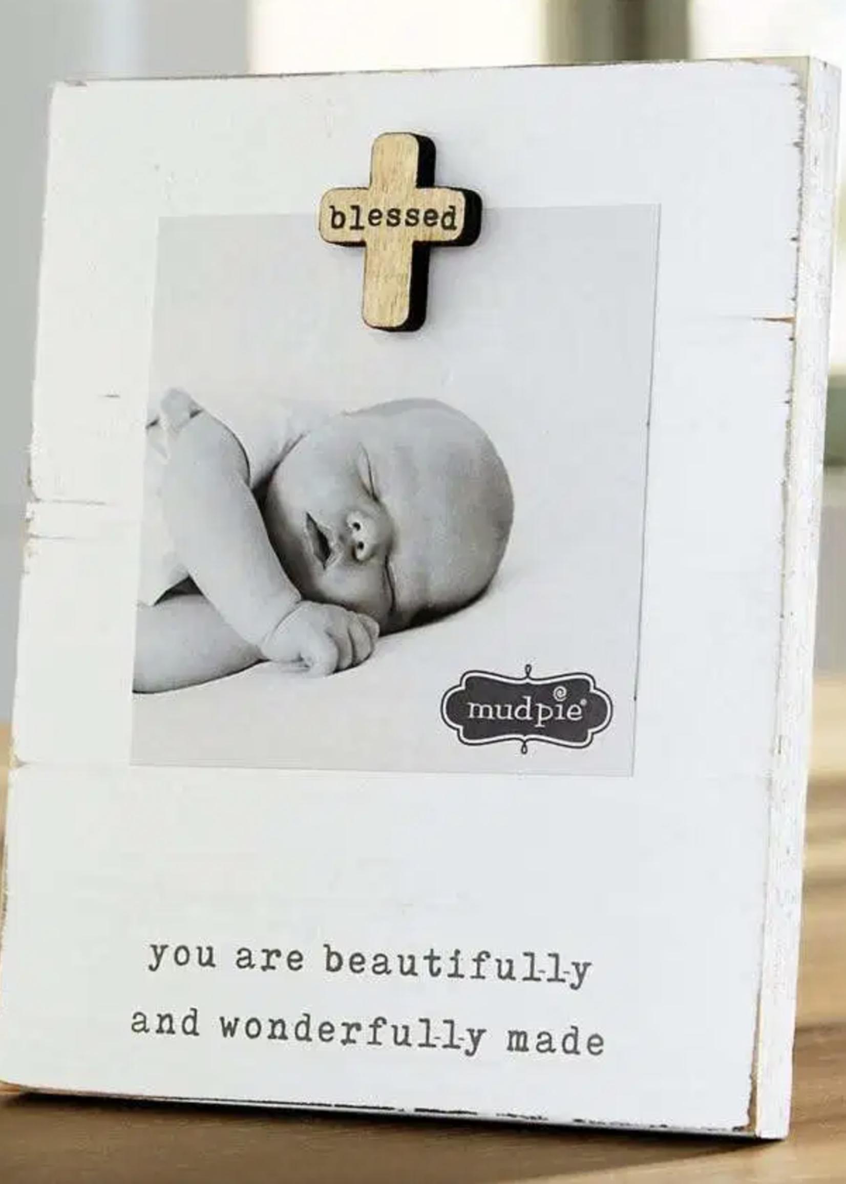Mud Pie Blessed Baby Magnet Wood Frame
